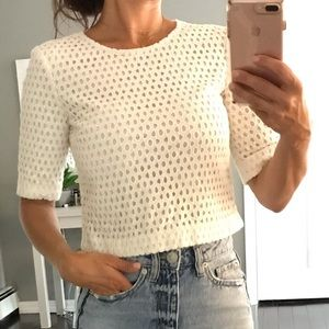 Theory white 1/2 sleeve perforated crop top XSP